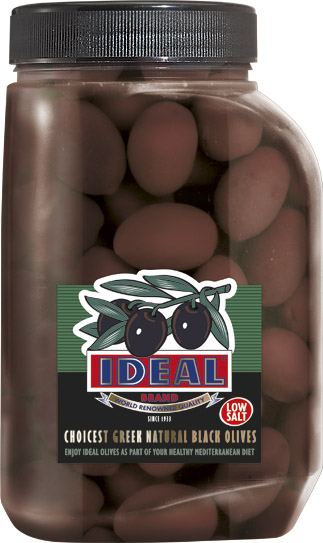 LOW SALT WHOLE BLACK OLIVES IN P.P. JAR