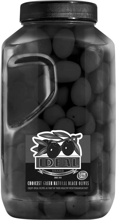 LOW SALT WHOLE BLACK OLIVES IN P.P. JAR
