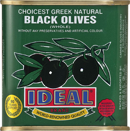 WHOLE BLACK OLIVES IN TIN